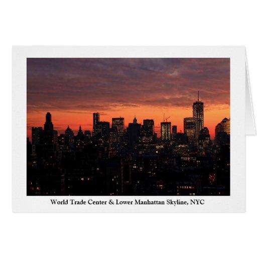 Horizonte del Lower Manhattan en el crepúsculo, Tarjeta De Felicitación