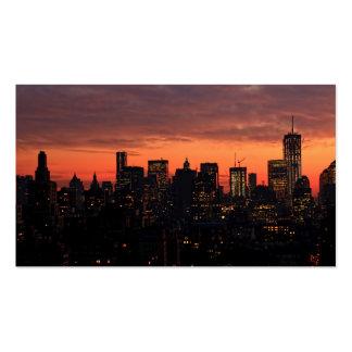Horizonte del Lower Manhattan en el crepúsculo, Tarjetas De Visita