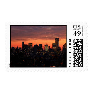 Horizonte del Lower Manhattan en el crepúsculo, Timbres Postales