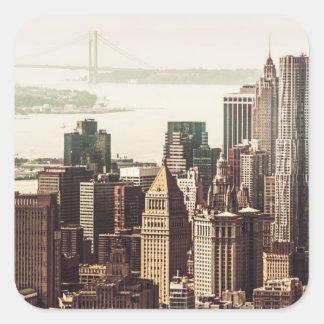 Horizonte del Lower Manhattan - visión desde el Pegatina Cuadrada