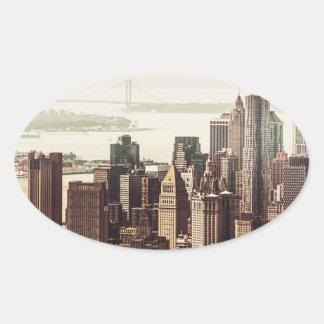 Horizonte del Lower Manhattan - visión desde el Pegatina Ovalada