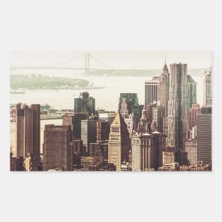 Horizonte del Lower Manhattan - visión desde el Pegatina Rectangular
