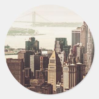 Horizonte del Lower Manhattan - visión desde el Pegatina Redonda