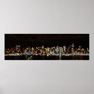 Horizonte del neón de la noche de NYC Posters