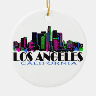 Horizonte del neón de Los Ángeles California Adorno Navideño Redondo De Cerámica
