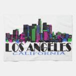 Horizonte del neón de Los Ángeles California Toallas De Mano
