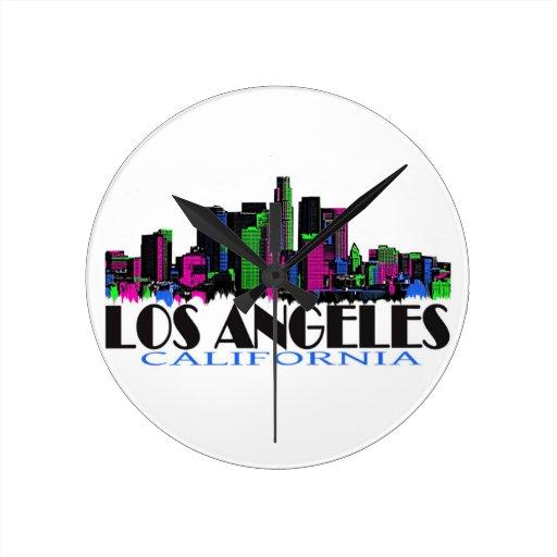 Horizonte del neón de Los Ángeles California Relojes De Pared