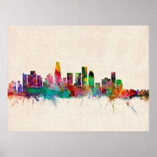Horizonte del paisaje urbano de Los Ángeles Califo Poster