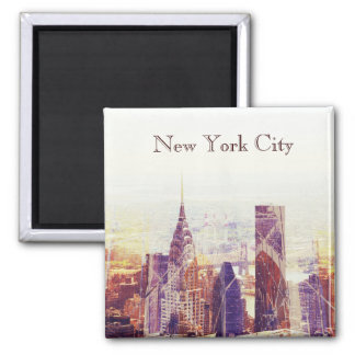 Horizonte del rascacielos de New York City Imán Cuadrado