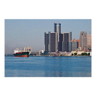 Horizonte del río Detroit Poster