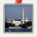 Horizonte del Washington DC con el capitolio de Adorno Cuadrado Plateado