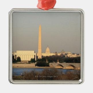 Horizonte del Washington DC Adorno Cuadrado Plateado
