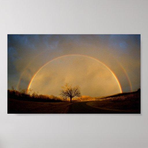 Horizonte doble del arco iris póster