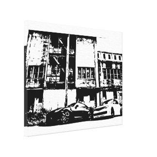 Horizonte e impresión blanco y negro de la lona impresiones en lona estiradas