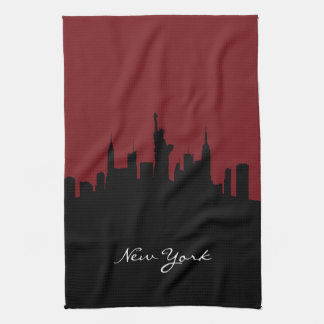 Horizonte el | de Nueva York rojo oscuro Toallas De Cocina