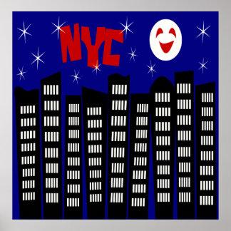 Horizonte enrrollado de NYC con los edificios, la  Póster