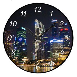 Horizonte escénico de Singapur Reloj Redondo Grande