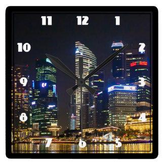 Horizonte escénico de Singapur Reloj Cuadrado