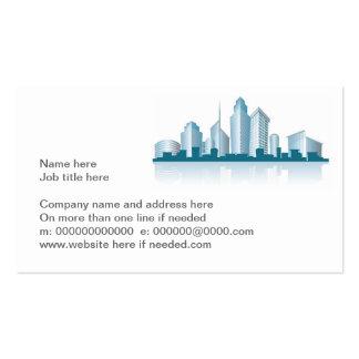 horizonte genérico de la ciudad con las oficinas y tarjeta de visita