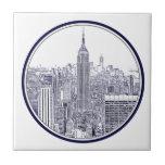 Horizonte grabado al agua fuerte de la mirada NYC, Azulejo Ceramica