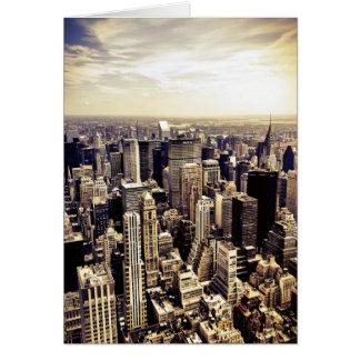 Horizonte hermoso de los rascacielos de New York C Tarjeta De Felicitación