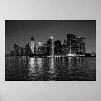 Horizonte hermoso de New York City Manhattan Póster