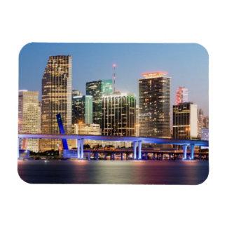 Horizonte iluminado de Miami céntrica en la oscuri Imanes Rectangulares