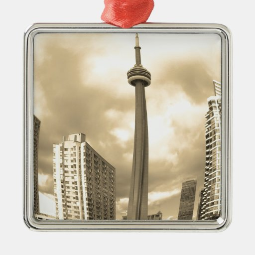 Horizonte loco de Toronto Adorno Navideño Cuadrado De Metal