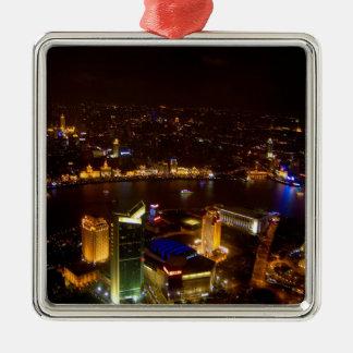 Horizonte maravilloso de Shangai China con moderno Adorno Cuadrado Plateado