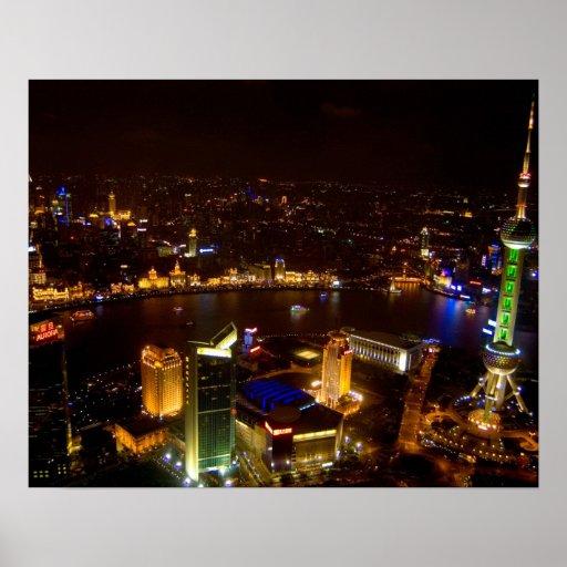 Horizonte maravilloso de Shangai China con moderno Poster