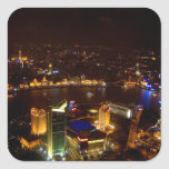 Horizonte maravilloso de Shangai China con moderno Calcomania Cuadradas Personalizada