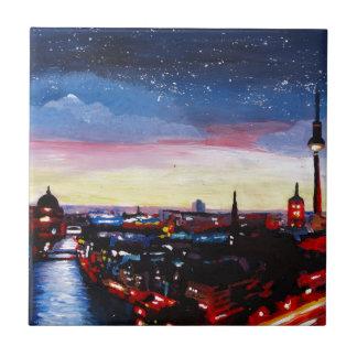Horizonte melancólico de Berlín Alemania con las Azulejo Cuadrado Pequeño