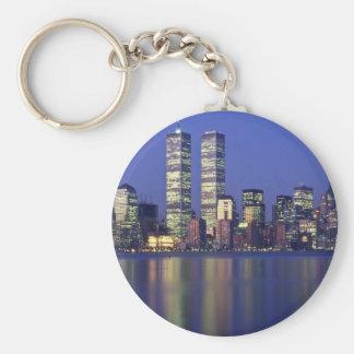 Horizonte Nueva York con World Trade Center Llavero Redondo Tipo Pin