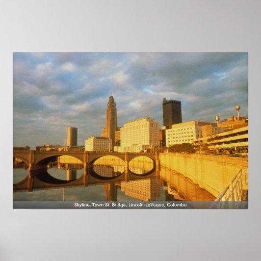 Horizonte, puente del St. de la ciudad, Lincoln-Le Poster