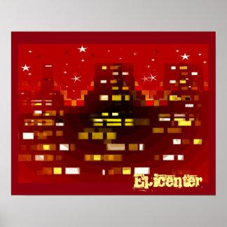 """Horizonte rojo de la ciudad del """"epicentro"""" en el póster"""