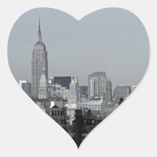 Horizonte y Brooklyn de Nueva York Pegatina En Forma De Corazón