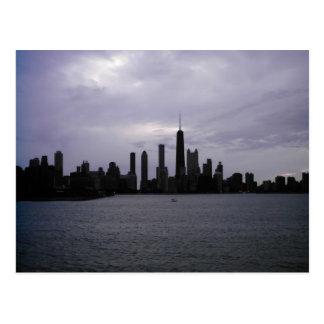 Horizonte y el lago Michigan de Chicago Tarjeta Postal