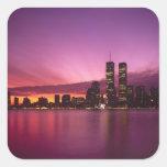 Horizonte y el río Hudson, Nueva York de Manhattan Pegatinas Cuadradases Personalizadas