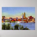 Horizonte y el río Ohio de Cincinnati Ohio Poster