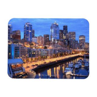 Horizonte y puerto, estado de Seattle de Washingto Imán Flexible