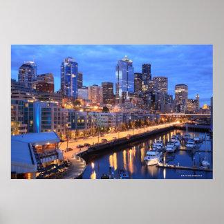 Horizonte y puerto, estado de Seattle de Washingto Poster