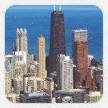 Horizonte y señales de Chicago Pegatina Cuadradas Personalizadas