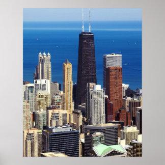 Horizonte y señales de Chicago Póster