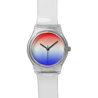 Horloge en rood~wit~blauw relojes de pulsera
