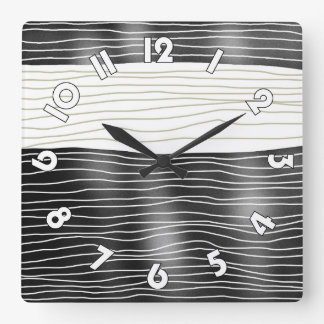 Horloge murale carrée Black and white waves Reloj Cuadrado