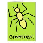 Hormiga amarilla del vector (fondo del verde de felicitacion