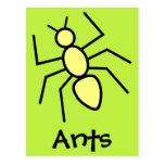 Hormiga amarilla del vector (fondo del verde de postales