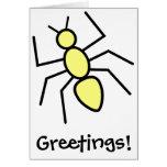 Hormiga amarilla del vector tarjeton