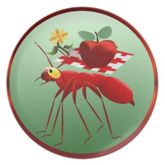 Hormiga de fuego y comida campestre Apple Platos Para Fiestas