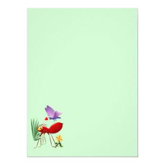"""Hormiga de fuego y mariposa púrpura invitación 6.5"""" x 8.75"""""""